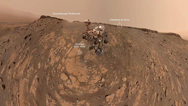 Dudaron de su ascenso a una pendiente de 31º y Curiosity se hace un selfie desde arriba a partir de 86 imágenes