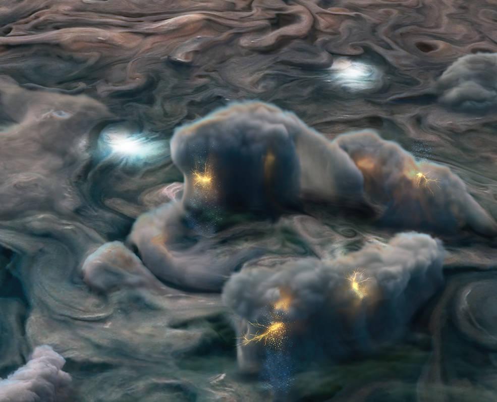 Bajo las gigantes tormentas de Júpiter llueve y graniza amoniaco
