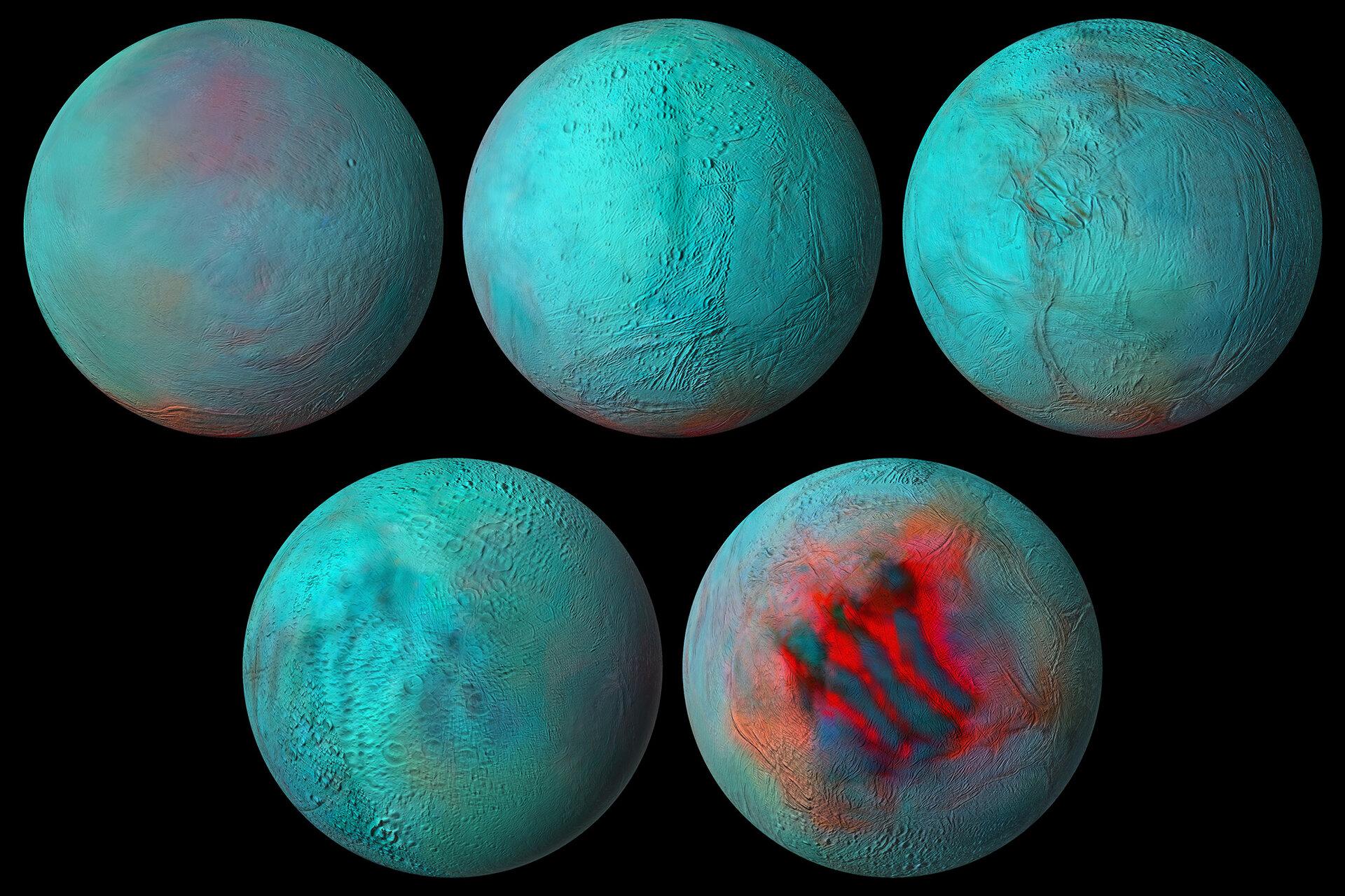 Nueva vista panorámica de la luna de Saturno: Encélado en infrarrojo