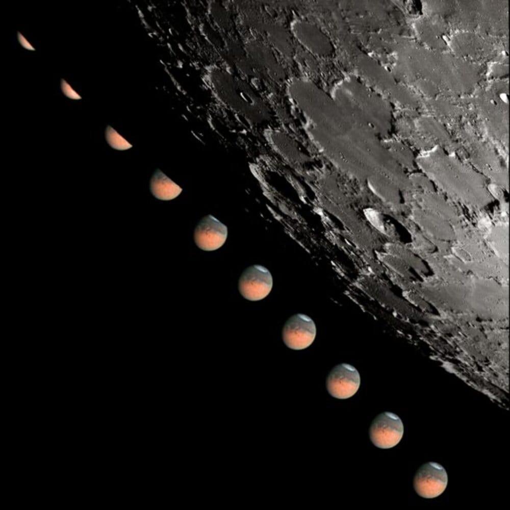 Las mejores imágenes de la conjunción de la Luna con Marte