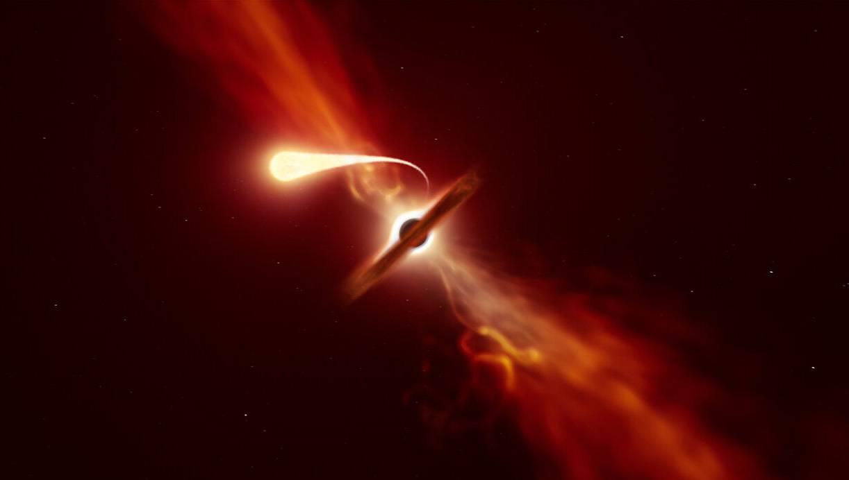 Los últimos momentos de una estrella devorada por un agujero negro